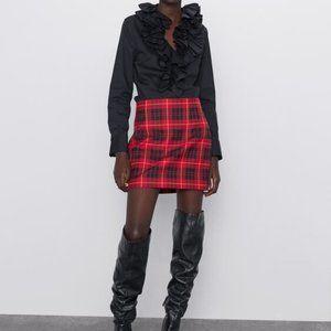 Zara checkered print short skirt